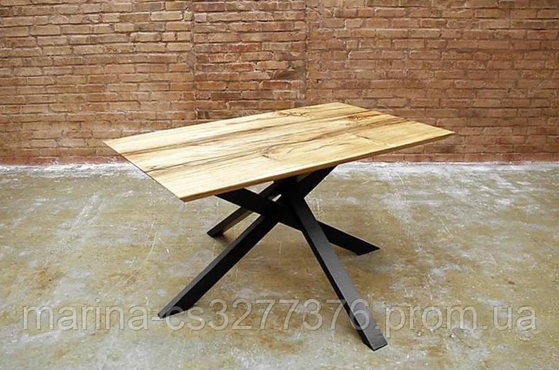 Стол со столешницей из массива дерева дуб, с металлическими ножками