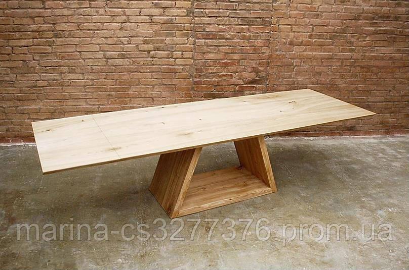 Стол со столешницей из массива дерева ясень, с рекой, металлическими ножками
