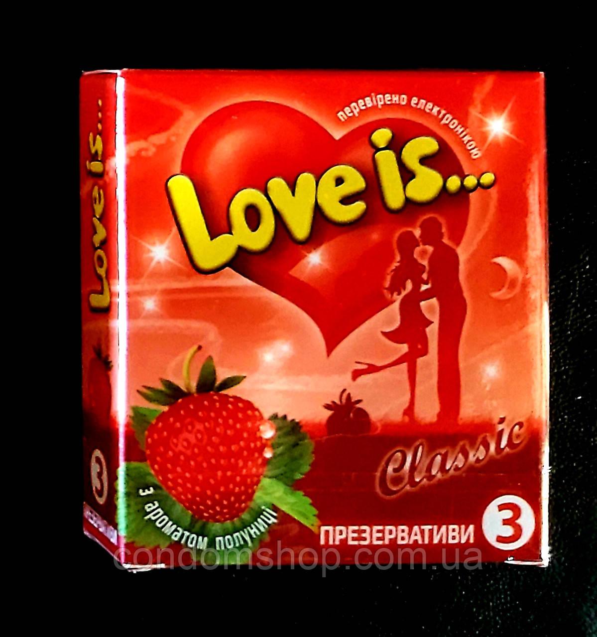 Презервативы LOVE IS премиум с КЛУБНИКОЙ и комиксом-вкладышем ,3 шт.Великобритания.