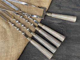"""Шампура подарункові з дерев'яними ручками """"Версаль 2"""" + подвійний шампур, в шкіряному сагайдаку"""