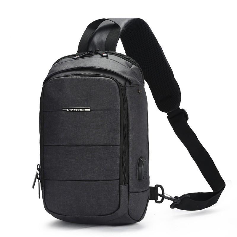Чоловічий рюкзак на одне плече Ozuko 9042 Grey USB зарядкою зручний для повсякденного носіння дихаюча спинка