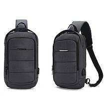 Чоловічий рюкзак на одне плече Ozuko 9042 Grey USB зарядкою зручний для повсякденного носіння дихаюча спинка, фото 2