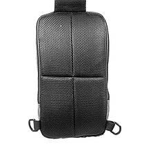 Чоловічий рюкзак на одне плече Ozuko 9042 Grey USB зарядкою зручний для повсякденного носіння дихаюча спинка, фото 3