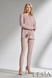 Трикотажная розовая  блуза из комбинации двух видов тканей Lesya МИНИЯ 5