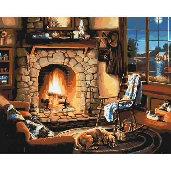 Картина по номерам Идейка - Возле камина 40x50 см (КНО2236)