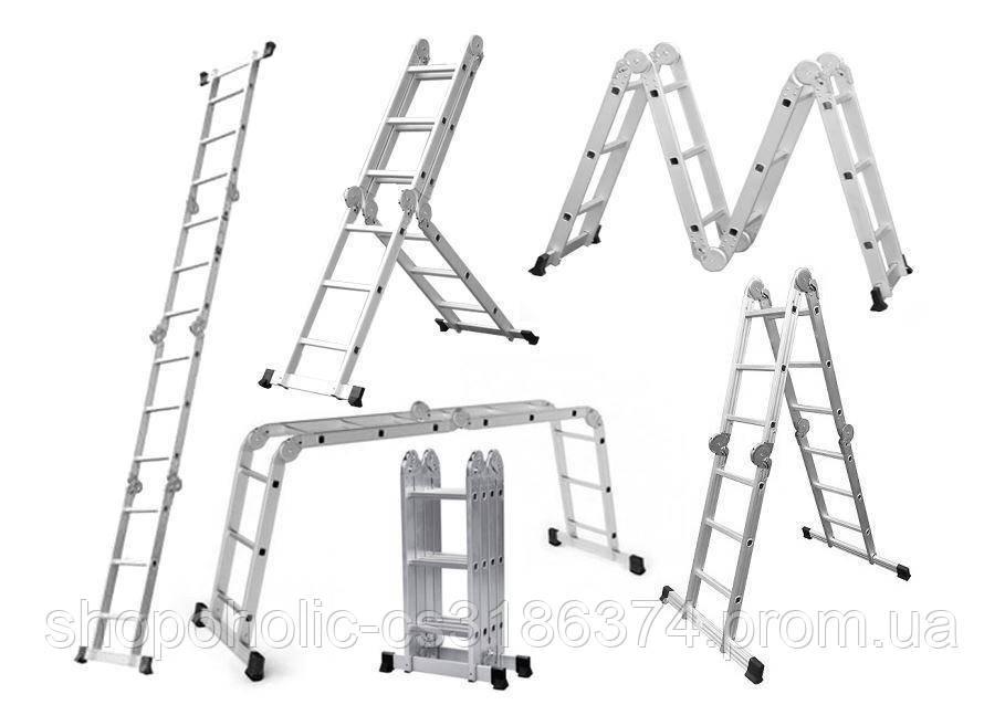 Лестница трансформер Higher 4x3 4-х секционная алюминиевая универсальная раскладная 4х3 12 ступ.3.5м Польша