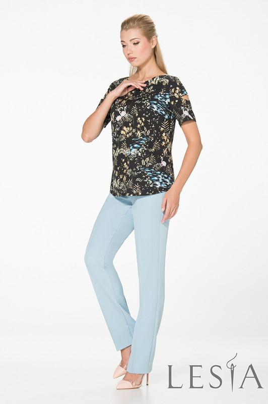 Легкая блуза в стиле casual с шелковистой ткани в принт Lesya  ЛЕРОС 46