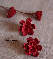 """Красные серьги с цветами ручной работы из полимерной глины """"Готика"""""""