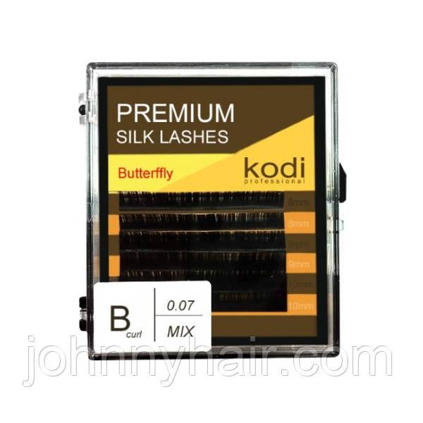 Ресницы для наращивания, черные Kodi Professional №В.0.07 6 рядов: 8-2; 9-2; 10-2