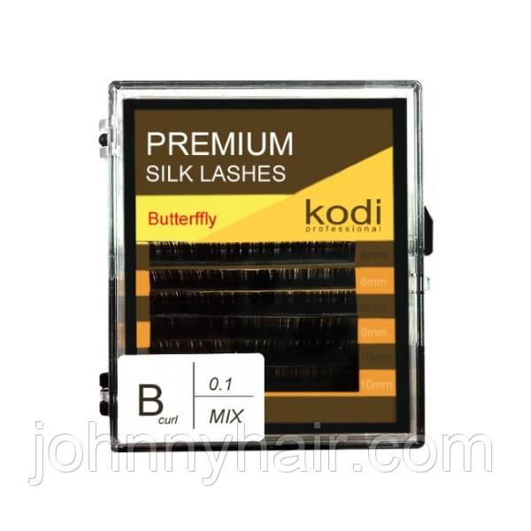 Ресницы для наращивания, черные Kodi Professional №В.0.10 6 рядов: 8-2; 9-2; 10-2