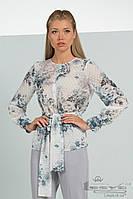 Шифоновая  белая блуза в цветочный принт  Lesya ЛЕРУА 2