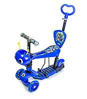 Музыкальный самокат со светящимися колёсами Scale Sports Scooter Пчелка 5in1 Heroes Blue (1348559461)