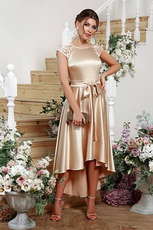 Женское вечернее выпускное атласное платье в пол размеры:s,m,l,xl, фото 2