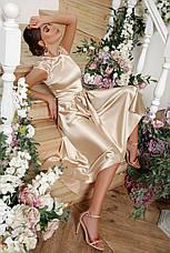 Женское вечернее выпускное атласное платье в пол размеры:s,m,l,xl, фото 3
