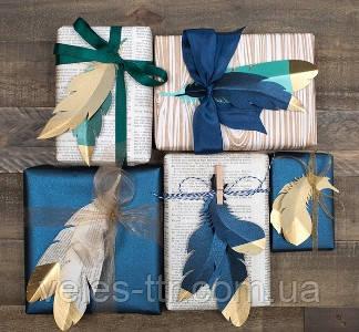 Перышки из бумаги для декоративной упаковки подарков