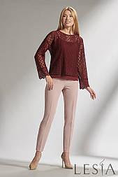 Нарядная блуза -комплект из гипюра   бордового цвета   Lesya МИНИЯ 2