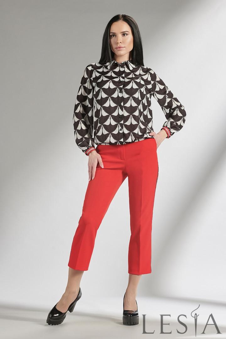 Чорно-біла шовкова блуза в абстрактний зооморфный принт lesya ГРЕЙС 4 50