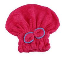 Полотенце тюрбан для сушки волос розовый - универсальный (подходит для детей и взрослых)