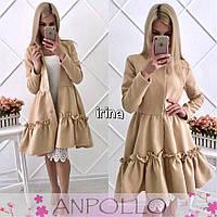 Женское платье-пальто из кашемира с оборкой по низу, фото 1