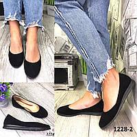 Балетки женские замшевые черные с принтом, фото 1