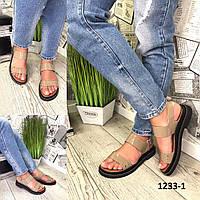 Босоножки женские кожаные капучино спортивные без каблука, фото 1