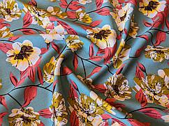 Ткань Штапель твил цветочная композиция, бирюзовый