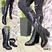 Казаки женские кожаные черные на каблуке зимние