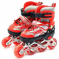 Детские ролики красные (размер 28-33, металл, светящиеся колёса ПУ) 1343975601-s