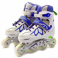 Детские ролики фиолетовые (размер 31-34, металл, светящиеся колёса ПУ) LF601AS