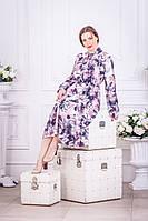 Нарядное серое платье миди с цветами на длинный рукав (M/L, L/XL, XL/XXL, XXL/XXXL)