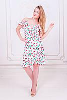 Летнее платье до колен с принтом и рюшами на запах (M, L)