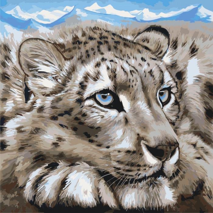 Картина по номерам Идейка - Снежный барс 40x40 см (КНО2467)
