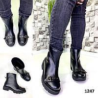 Ботинки женские кожаные черные на байке с пряжкой