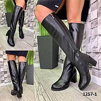Сапоги женские высокие кожаные черные на каблуке