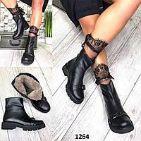 Ботинки женские кожаные черные с пряжкой зимние