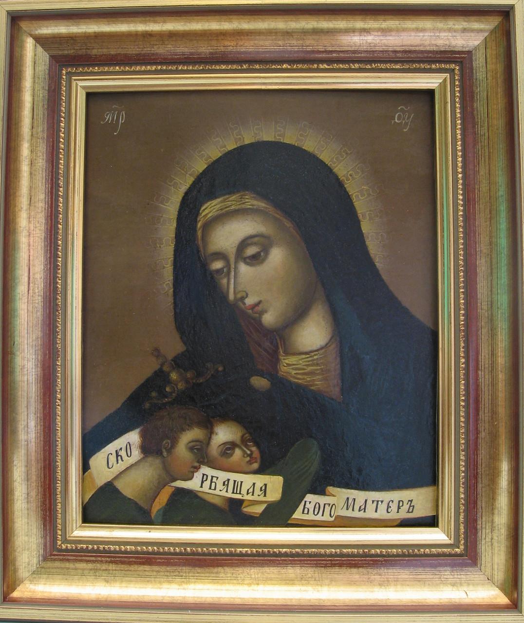 Греко-Католическая икона Богородица с Иисусом и Иоанном 19 век