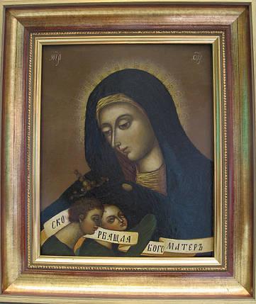 Греко-Католическая икона Богородица с Иисусом и Иоанном 19 век, фото 2