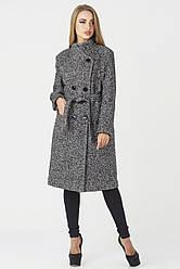 Пальто Варшава  утепленное, PV 1692 диагональ черный/белый