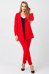 Элегантный женский костюм Жасмин креп,KJ2343 красный