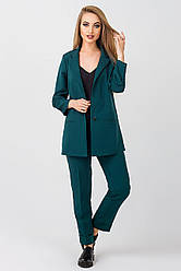 Элегантный женский костюм Жасмин креп, KJ2372 темно зеленый