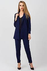 Элегантный женский костюм Жасмин креп, KJ2373 темно синий