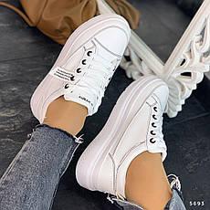 Кроссовки женские белые на платформе. Кроссовки женские из эко кожи. Кеды женские. Мокасины женские, фото 3