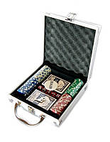 Набор покера на 100 фишек с номиналам в алюминиевом кейсе