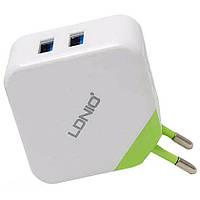 Сетевое зарядное устройство Ldnio DL-AC58 (2USB, 3.1A) Green