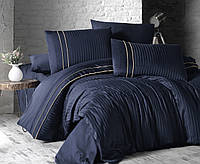 Постельное белье евро сатин де люкс FIRST CHOICE Stripe Style Lacivert (Турция)