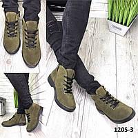 Ботинки женские замшевые хаки классическме на шнурках, фото 1