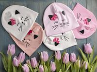 Модная шапка для девочки на весну-осень - Котик- Артикул 2586