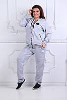 Женский модный спортивный костюм двухнитка с капюшоном батал