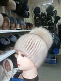 Меховая шапка из ондатры чёрная с бубоном, фото 7