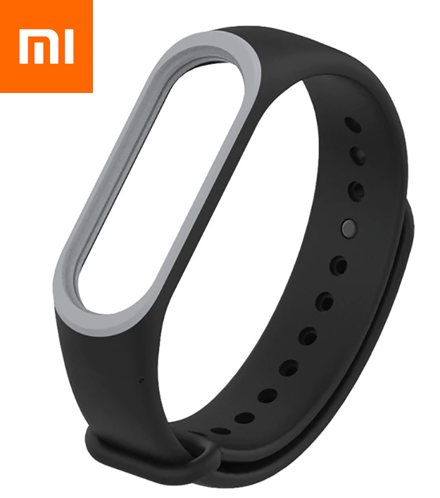 Ремешок для Xiaomi Mi Band 4 Черно-Серый Оригинальное Качество